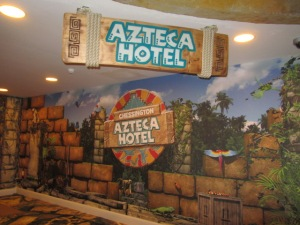 The walk way through to the new Azteca Hotel