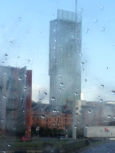 Hilton Hotel through the Manchester rain !