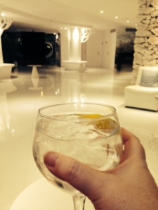 Enjoying a gin in the hotel reception