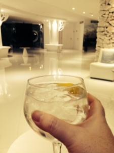 Enjoying a gin in the hotel reception